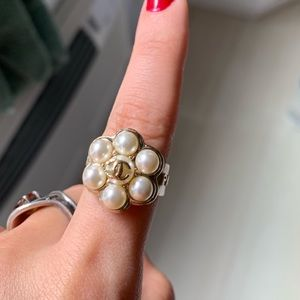 Authentic Vintage Chanel Pearl Flower Ring